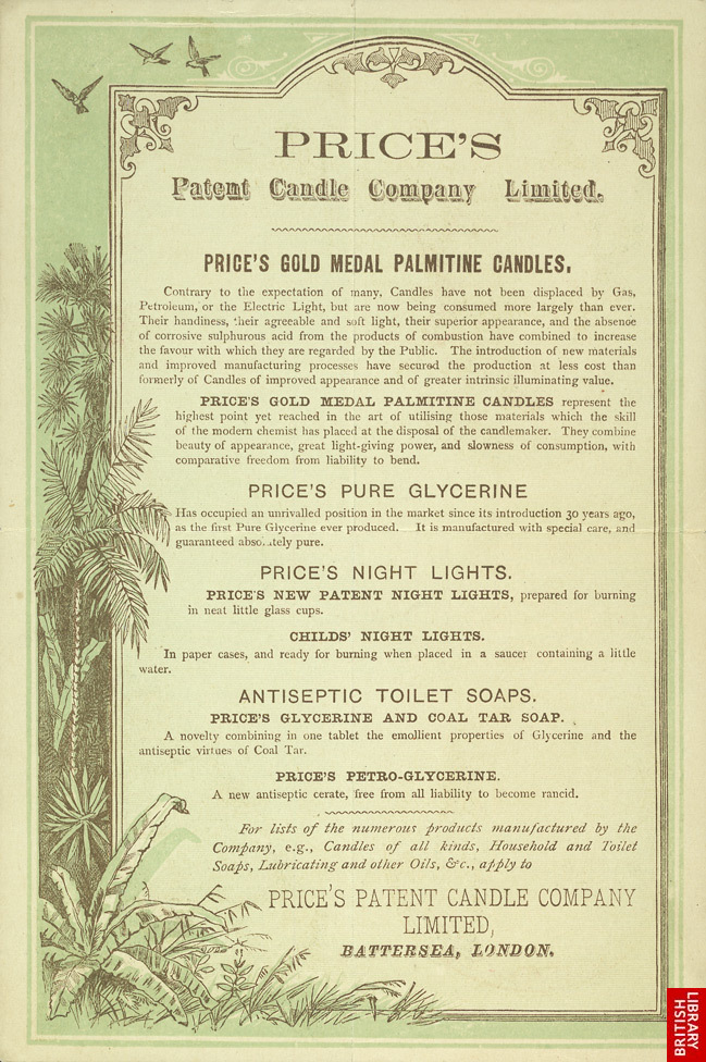 Advert for Price's Patent Candle Company, reverse side